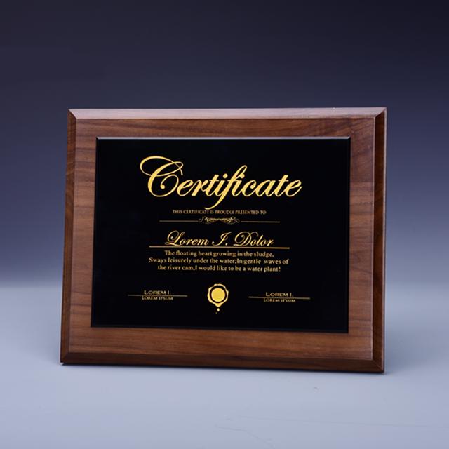 High quality black walnut wood plaques solid wood crystal award