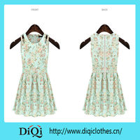 lady dress print cotton design hollow out shoulder and zipper back woven cotton fabric