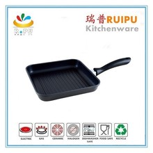 2017 kitchen accessories with bakelite handle Press Aluminum Die Casting Square grill fry pan