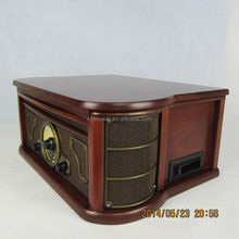 2014 Newest bluetooth phonograph wooden turntable cd record cassette radio player