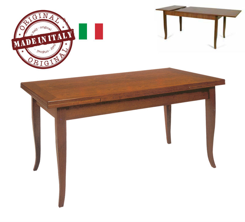 MADE IN ITALY Wooden Table RECTANGULAR Extending model: DUCALE with 4 feet curved - Color antique brown