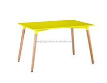 newest model wooden leg dining table for wholesale