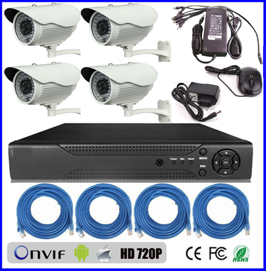 intelligent cheap home security camera systems Dual stream encoding hd 720p ip camera h.264 P2P 4ch network dvr kit (BS-NK05)