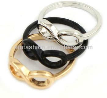 Wholesale Cheap Gold/Silver/Black 8 Shape Infinity Finger Ring