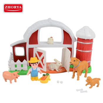 zhorya cheap plastic farm farmer and animal play set toy