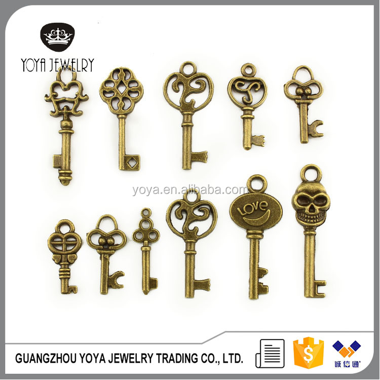 JS1298 Tiny Antique bronze key charms pendants,Jewelry DIY Supplies