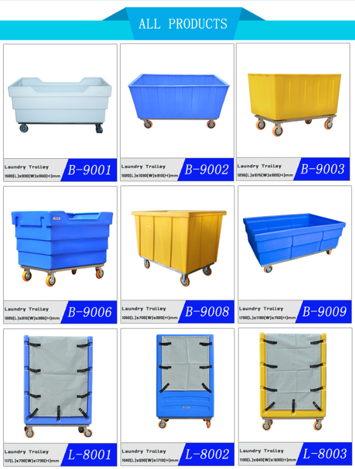 Chinese top-level quality CE approved plastic laundry cage trolley with long using time