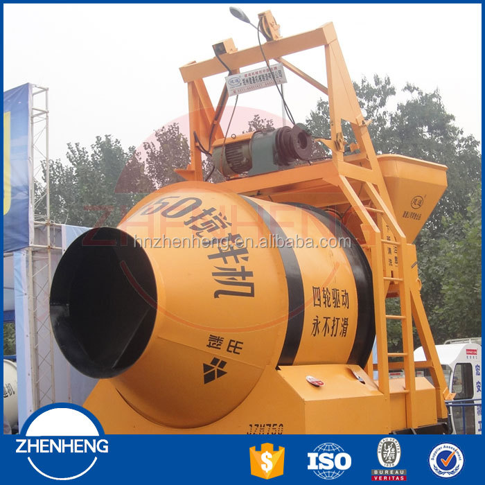 High efficient China ISO9001 new JZM750 Electric belle concrete mixer with hopper from leading manufacturer in Zhengzhou