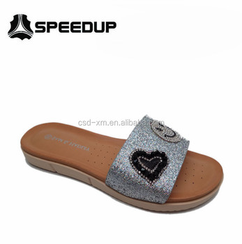 Trendy Beaded Bling Bling Lady Casual Sandal/Sllippers