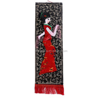 chinese style home decorative velvet wall hanging picture with rope