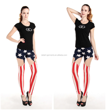 Fashion leggings Flag printed leggings hollow out women leggins