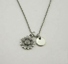 Monogram Jewelry Initial-Daisy Sliver Sunflower <strong>Necklace</strong>