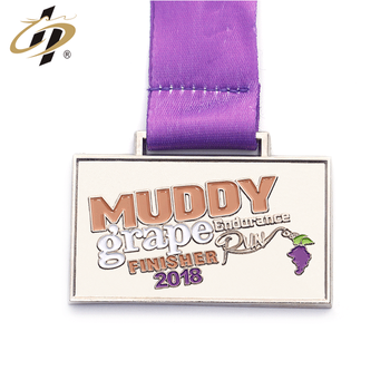 Custom alloy die cut enamel endurance marathon run finisher silver medal
