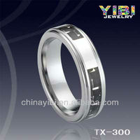Tungsten Carbide Couple Rings Black Carbon Fiber&Silver Line Inlay Belved Edges Unique Tungsten Rings