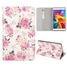 Elegant Pink Flowers Pattern Flip Stand TPU and PU Leather Case For Samsung Galaxy Tab 4 7.0 T230 T231 T235 with Card Slot