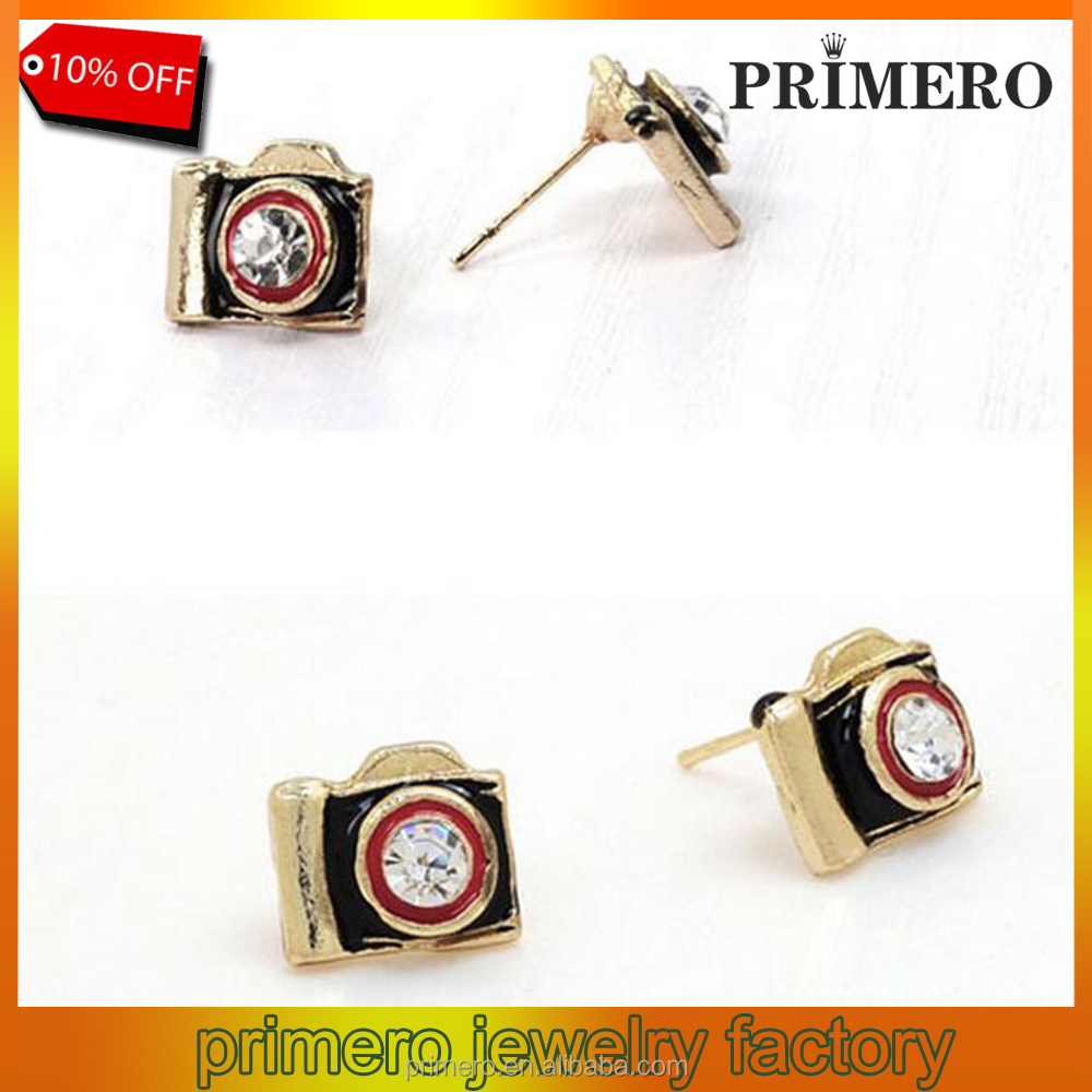 Fashion vintage sparkling antique camera hidden stud earring jewelry