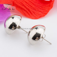 platinum plated stainless steel stud earrings half round ball womens stud earrings jewelry