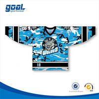 Wholesale custom brand sports sublimated blue box camo hockey jersey