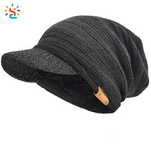 Classical Slouchy knit visor beanie fur lined fleece lined beanie hat women leather patch custom logo mens knitted winter caps