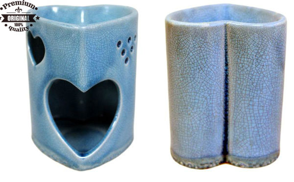 custom ceramic Blue Heart Antique Style Cracked aroma oil burner