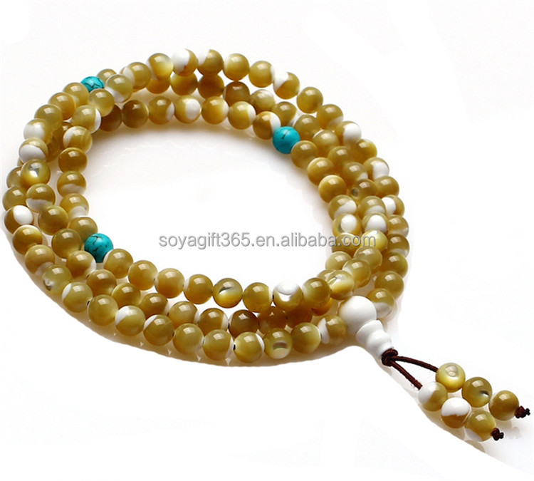 108 Natural water chestnut shell Mala Prayer Beads Wrap Bracelet