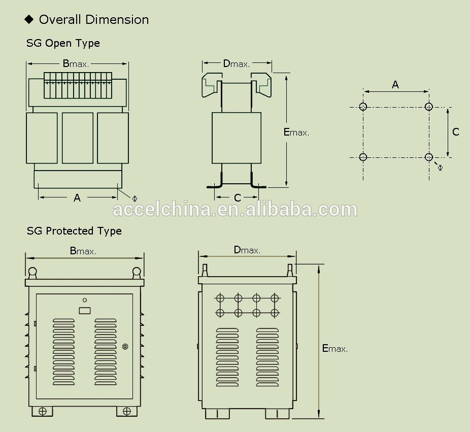 SG dry type three phase step down transformer