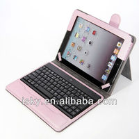 Pink Promotional Wireless Bluetooth Keyboard Folio Leather Case Cover Magnetic Smart Stand for iPad 2 New Apple iPad 3 3rd Gen