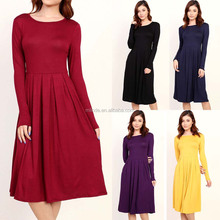 Long Sleeve Round Neck Pleated Detail Pockets Solid Rayon Dress Custom All Types Of Ladies Dresses