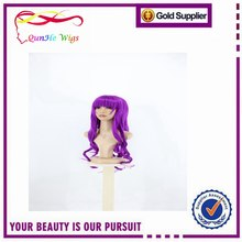 Hot Selling New Fashion Womens Long Wavy Curly Wig Hair Purple Cosplay wig