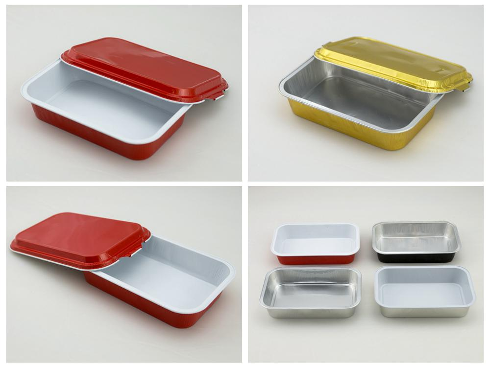 FS disposable red white cotated airline aluminum foil food container
