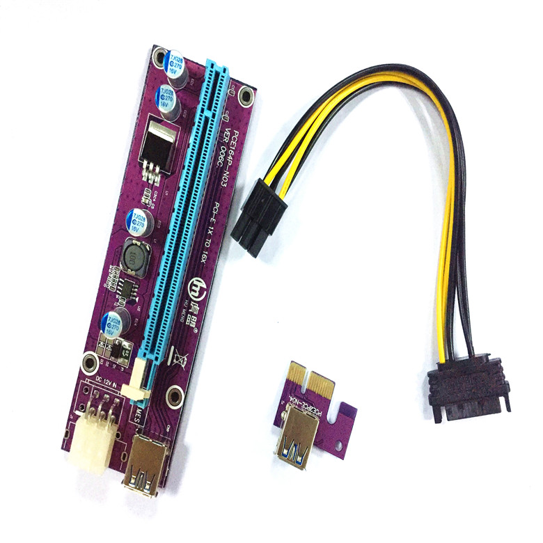 pcie risers convert adapter 006c purple 6pin PCI-E riser card 1X to 16X New Socket USB 3.0 Extension Cable 45CM Bitcoin
