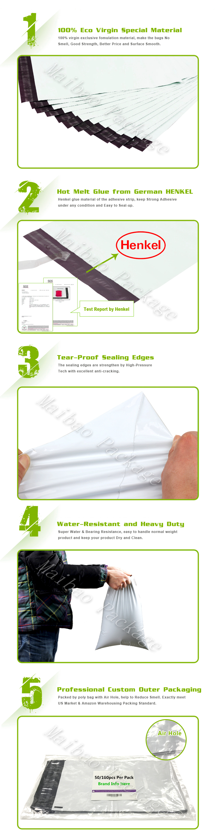 Boutique Decorative Plastic Shipping Envelope Custom Logo Design Printed 2.5 Mil Tear Proof 10X13 Poly Mailers