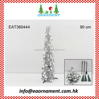 Set of silver pop-up tinsel christmas tree