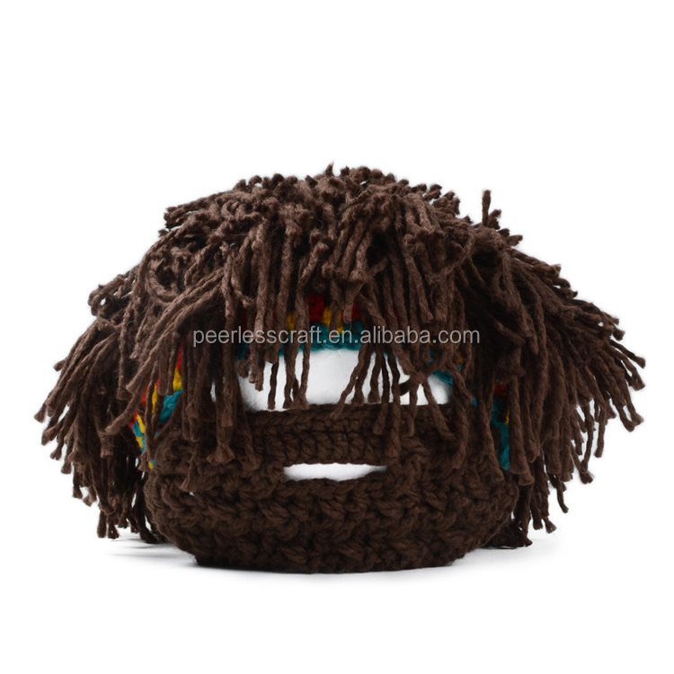 100% Acrylic Brown Color Tassel Knitted Beanie Hat Winter Hat Crazy Winter Hats