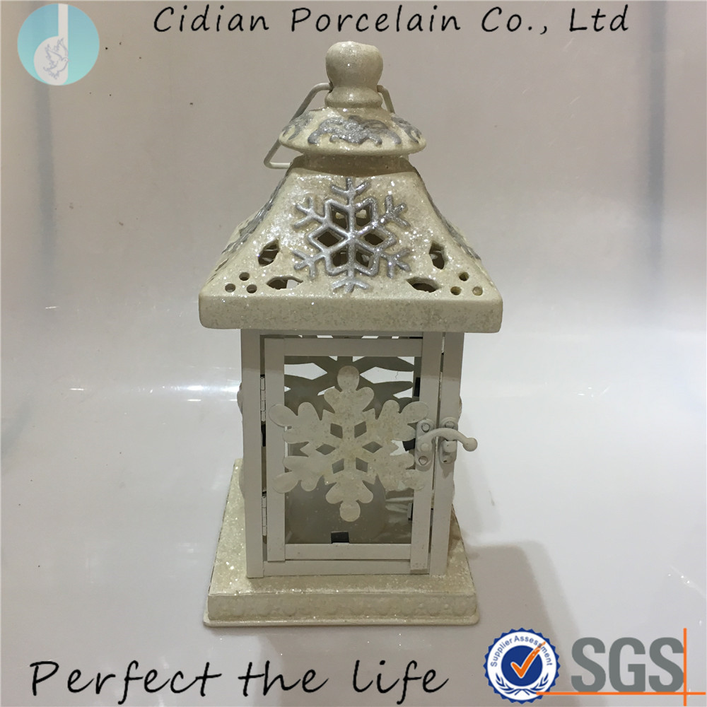 Ceramic Snowflake design square candle holder lantern for Christmas