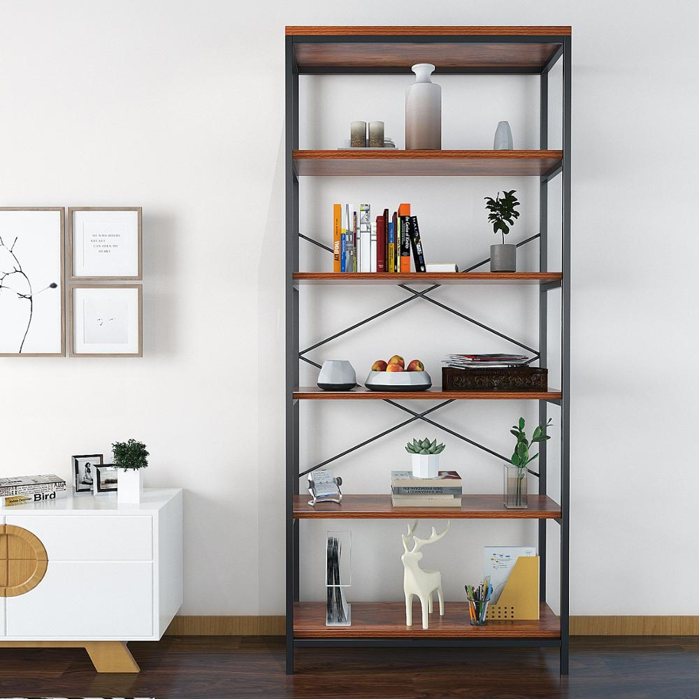 SINBEER 5 Shelf Bookcase, Bookshelf Industrial Style Metal and Wood Bookshelves Free Vintage Standing Storage Shelf Units