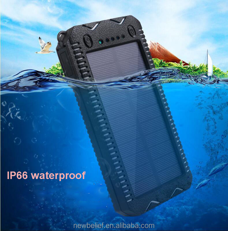 Latest ip67 waterproof power bank 12000mah solar power bank waterproof with smoker lighter and SOS light