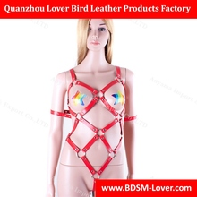 Adult Sex Toy PU Leather Body Harness Suit Women's Bondage Fetish Costume Fancy Open Bust Teddy Sexy Lingerie Black