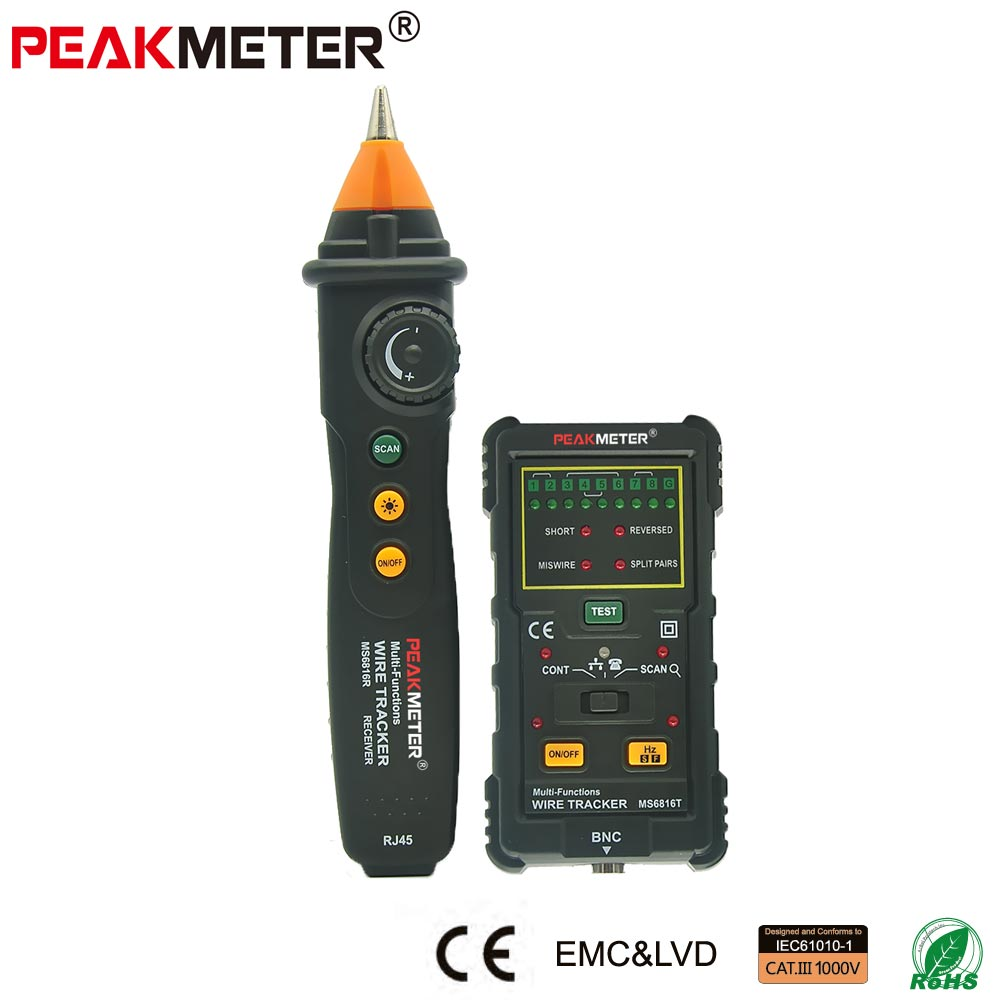 low price Multi network cable tester BNC data Ethernet Lan RJ45 RJ11 wire Cable tester wire cable locator tracker finder MS6816