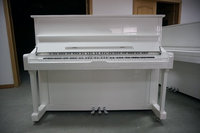 [Chloris] 88 Keys Solid Wood Keyboard White Baby Upright Piano, Musical Mini Piano HU-123W