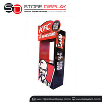 Kiosk shape display stand for KFC prmotion, cardboard dump bin stand for product retailing, advertising gift showcase