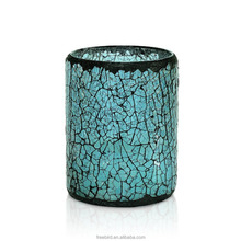 Blue Crack Mosaic Glass Flameless Pillar Led Wax Candle Light for Weddings, Parties and Awesome Gifts