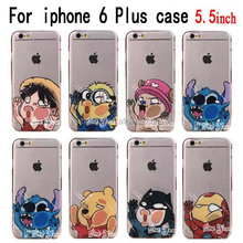 Newest For Apple iphone 6 Plus case 5.5 inch Transparent Cute Cartoon Batman iron man Despicable Me cell phone cases Back covers