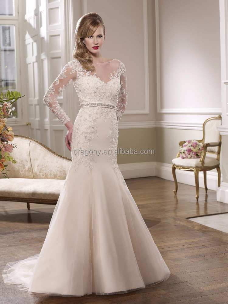 Long Sleeve V Neck Lace Applique Beaded Mermaid Bride's Wedding Dresses