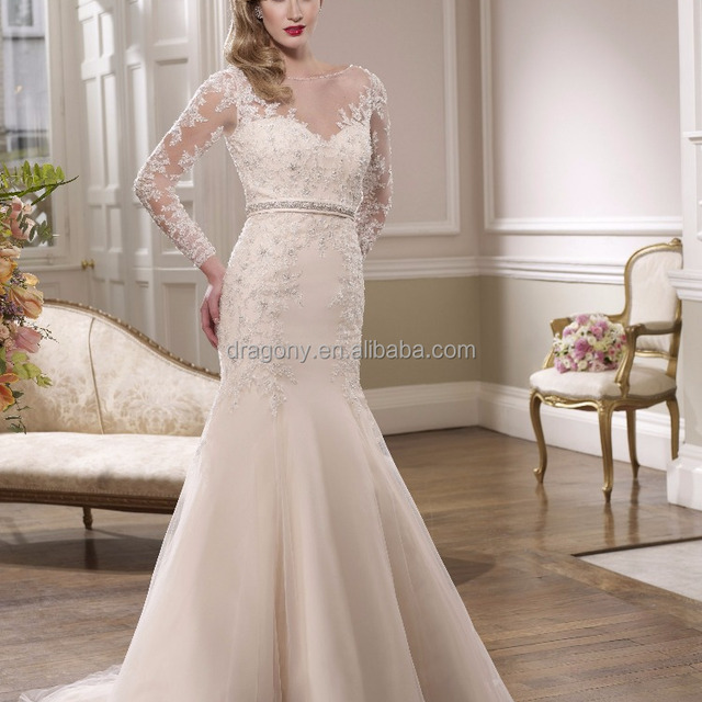 Long Sleeve V Neck Lace Applique Beaded Mermaid Bride's Wedding Dresses