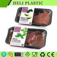 Disposable Vacuum forming blister black plastic frozen meat tray/ fresh food tray on sale