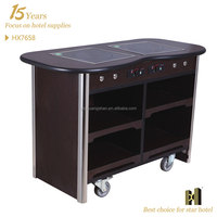 Two Induction Cooker Wooden Structure hotel flambe cart