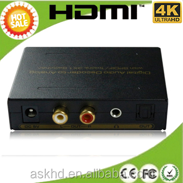3 ports SPDIF/Toslink digital to analog audio converter support 5.1 DTS PCM