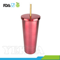 Wholesale Private Label 24oz Custom Stainless Steel Tumbler With Straw