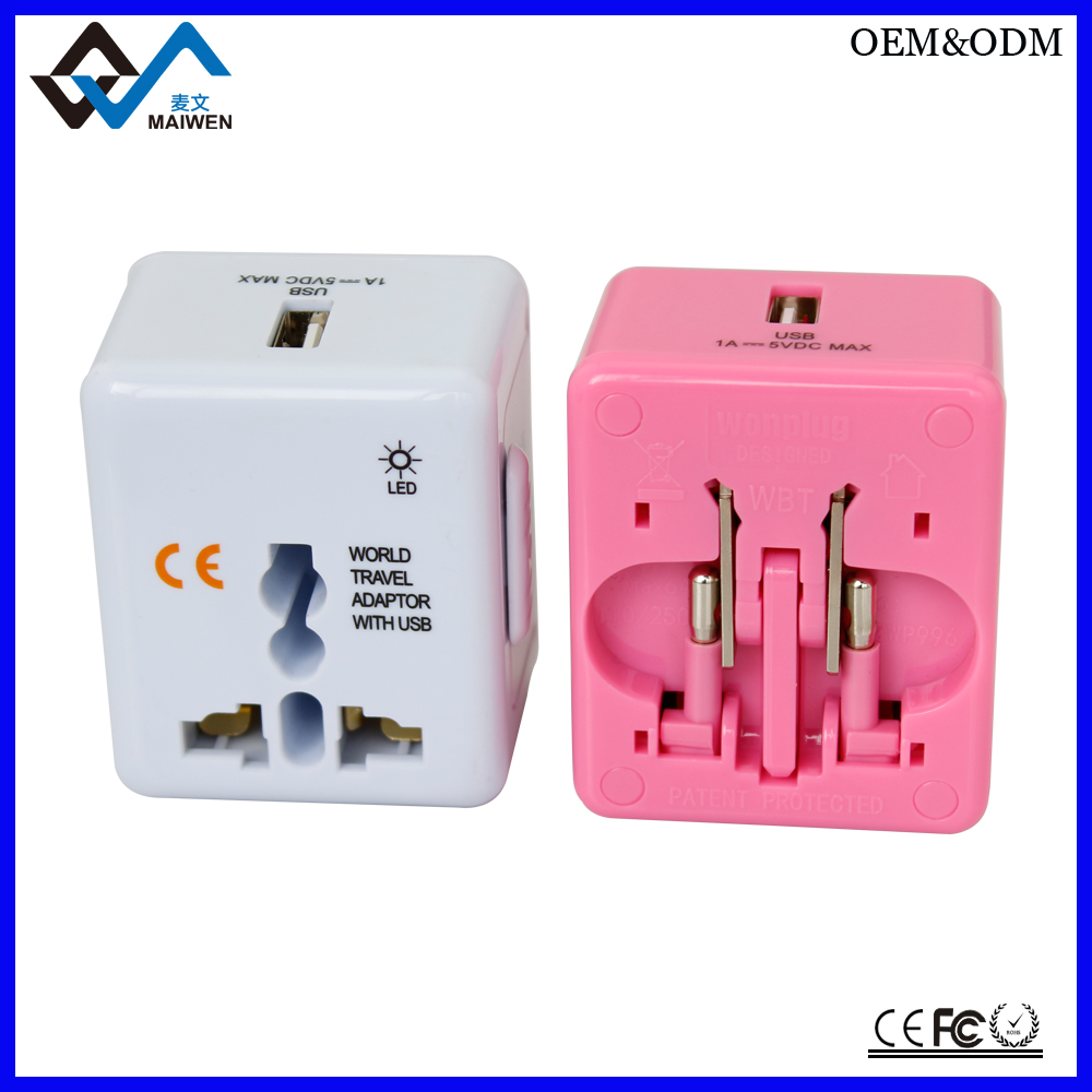 Hot sale pc material usb universal travel adapter uk to eu